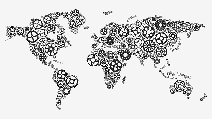 World map with cogwheels