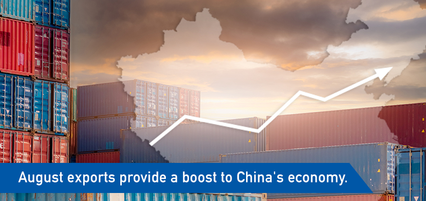 August exports provide a boost to China's economy